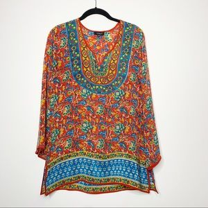 Tolani 100% Silk Boho Tunic Top Long Sleeve XS